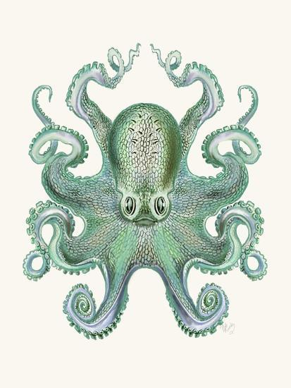 Turquoise Octopus and Squid a-Fab Funky-Art Print