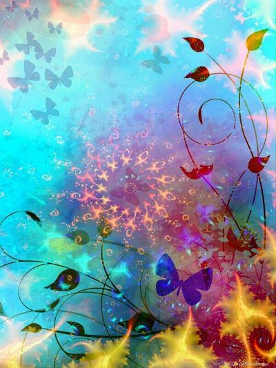 Turquoise Sea and Sky with Butterflies, 2014-AlyZen Moonshadow-Giclee Print