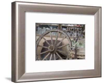 Turquoise Trail Scenic Byway, New Mexico. An old wagon wheel-Deborah Winchester-Framed Photographic Print