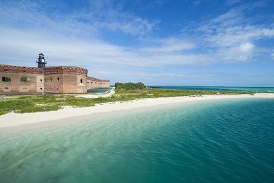 Turquoise Waters and White Sand Beach in Front of Fort Jefferson, Florida Keys, Florida-Michael Runkel-Photographic Print