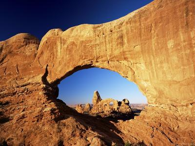 Turret Arch Through North Window at Sunrise, Arches National Park, Moab, Utah, USA-Lee Frost-Photographic Print