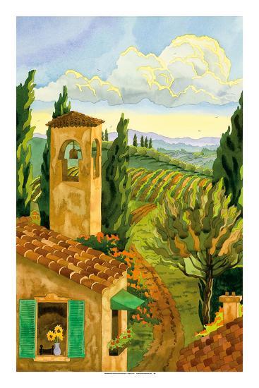 Tuscan Afternoon - Tuscany Italy - Italian Villa, Vineyards, Cypress Trees-Robin Wethe Altman-Premium Giclee Print
