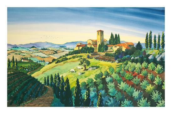 Tuscan Air - Tuscany Italy - Italian Villa, Vineyards, Cypress Trees-Robin Wethe Altman-Premium Giclee Print