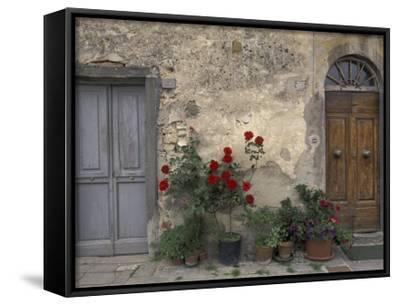 Tuscan Doorway in Castellina in Chianti, Italy-Walter Bibikow-Framed Canvas Print