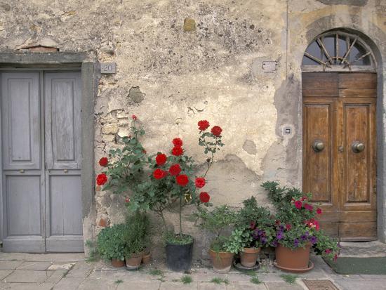 Tuscan Doorway in Castellina in Chianti, Italy-Walter Bibikow-Photographic Print