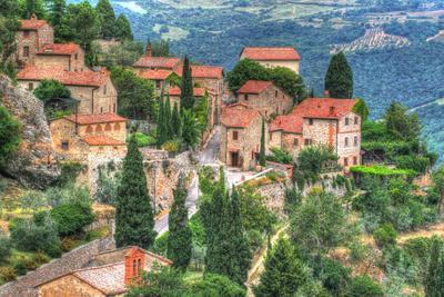 Tuscan Hilltop Town-Robert Goldwitz-Photographic Print
