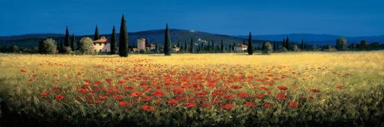 Tuscan Panorama, Poppies-David Short-Premium Giclee Print