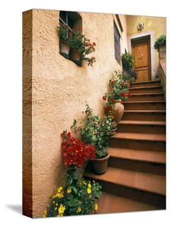 Tuscan Staircase, Italy-Walter Bibikow-Stretched Canvas Print
