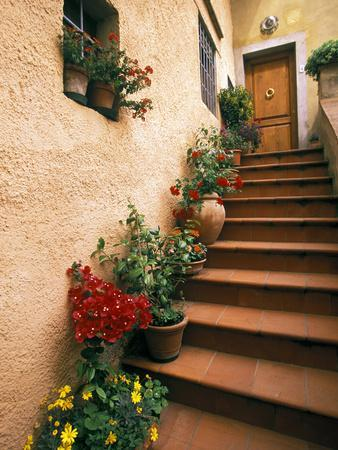 Tuscan Staircase, Italy-Walter Bibikow-Photographic Print