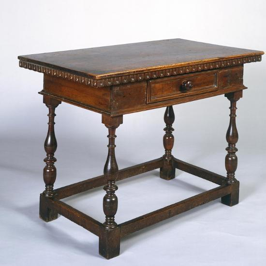 Tuscan Table in Walnut with Turned Legs and Stretchers, Italy, 16th Century--Giclee Print