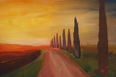 Tuscany Alley Way with Cypress at Dusk-Markus Bleichner-Art Print