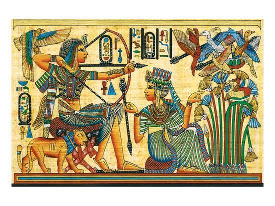Tutankhamun Hunting Birds--Art Print
