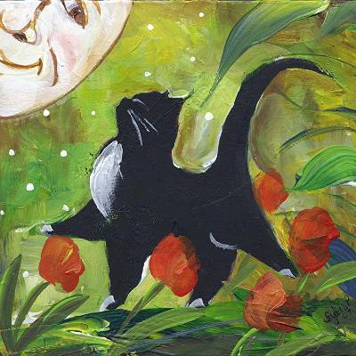 Tuxedo Cat With Moonface & Tulips-sylvia pimental-Art Print