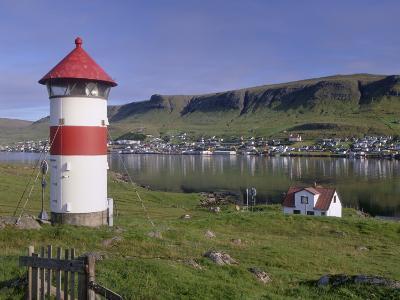 Tvoroyri Village and Lighthouse, Suduroy, Suduroy Island, Faroe Islands, Denmark, Europe-Patrick Dieudonne-Photographic Print