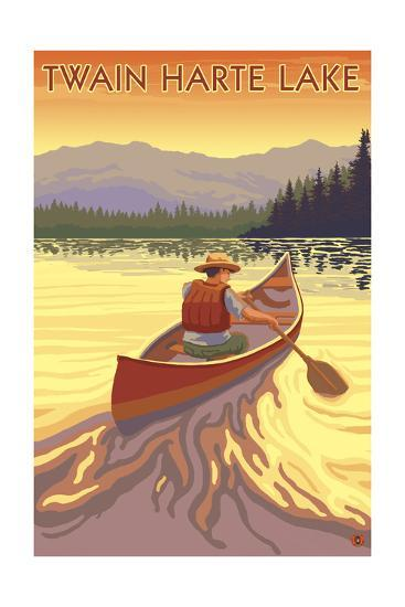 Twain Harte, California - Canoe Scene-Lantern Press-Art Print