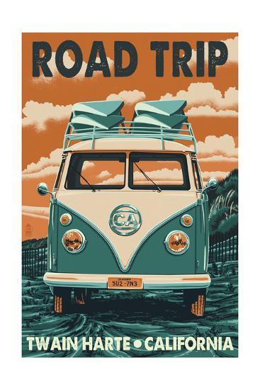 Twain Harte, California - VW Van-Lantern Press-Art Print