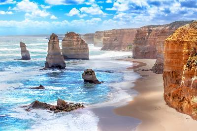 Twelve Apostles and Orange Cliffs along the Great Ocean Road in Australia-Tero Hakala-Photographic Print