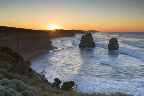 Twelve Apostles at Dawn, Port Campbell National Park, Great Ocean Road, Victoria, Australia-Ian Trower-Photographic Print