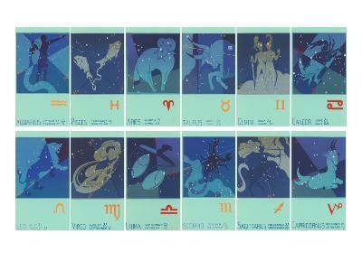 Twelve Zodiac Signs--Art Print