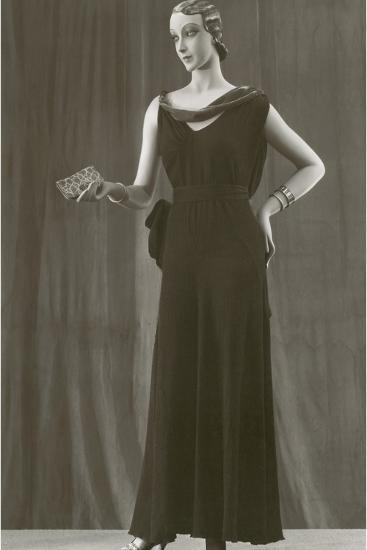 Twenties Female Mannequin in Dark Evening Gown-Found Image Press-Photographic Print