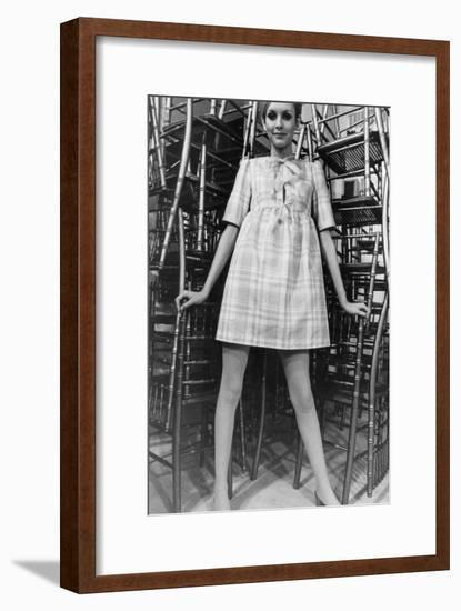 Twiggy Wearing Dolly Dress with Pink Ribbons (By Paul Babb and Pamela Proctor) February 17, 1967--Framed Photo