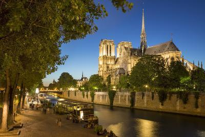 Twilight Along River Seine Below Cathedral Notre Dame, Paris, France-Brian Jannsen-Photographic Print