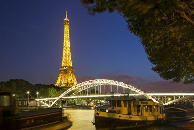 Twilight Below the Eiffel Tower Along River Seine, Paris, France-Brian Jannsen-Photographic Print