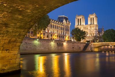 Twilight, Cathedral Notre Dame and River Seine, Paris, France-Brian Jannsen-Photographic Print
