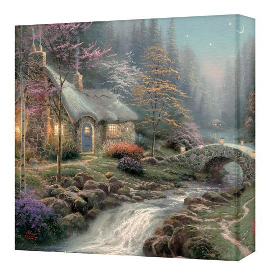 Remarkable Twilight Cottage Gallery Wrapped Canvas By Thomas Kinkade Art Com Home Interior And Landscaping Fragforummapetitesourisinfo
