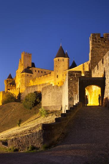 Twilight, Fortification, La Cite Carcassonne, Languedoc-Roussillon, France-Brian Jannsen-Photographic Print