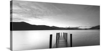 Twilight on lake, UK--Stretched Canvas Print