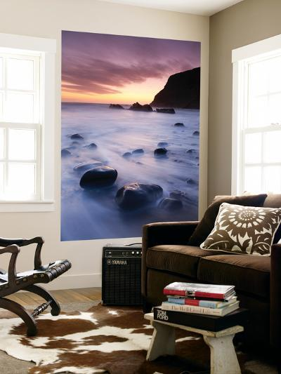 Twilight on the Beach at Duckpool on the North Cornish Coastline, Cornwall, England. Spring-Adam Burton-Wall Mural
