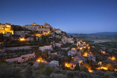 Twilight over Medieval Village of Gordes, Provence, France-Brian Jannsen-Photographic Print