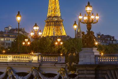Twilight over Pont Alexandre III with Eiffel Tower, Paris, France-Brian Jannsen-Photographic Print