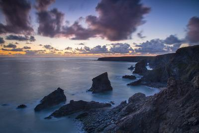 Twilight over the Bedruthan Steps Along the Cornwall Coast, England-Brian Jannsen-Photographic Print