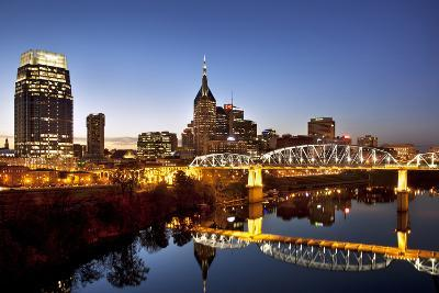 Twilight over the Cumberland River and Nashville, Tennessee, USA-Brian Jannsen-Photographic Print