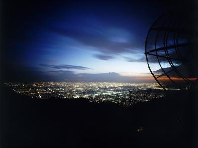 Twilight Shot of Los Angeles Seen from Top of Mount Wilson Ktla Tv Helicopter Dish, CA, 1959-Ralph Crane-Photographic Print