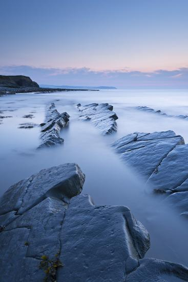 Twilight Skies Above Rocky Kilve Beach on the Somerset Coast, England. Summer (July)-Adam Burton-Photographic Print