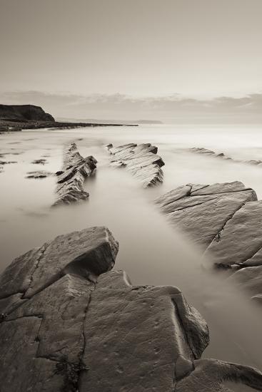 Twilight Skies Above Rocky Kilve Beach on the Somerset Coast, England. Summer (July)-Adam Burton-Photographic Print