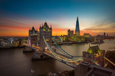 Twilight, Tower Bridge and the Shard at Sunset-Katherine Young-Photographic Print