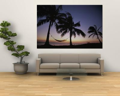 Twilight View of Beach with Hammock and Palms, Costa Rica-Michael Melford-Wall Mural