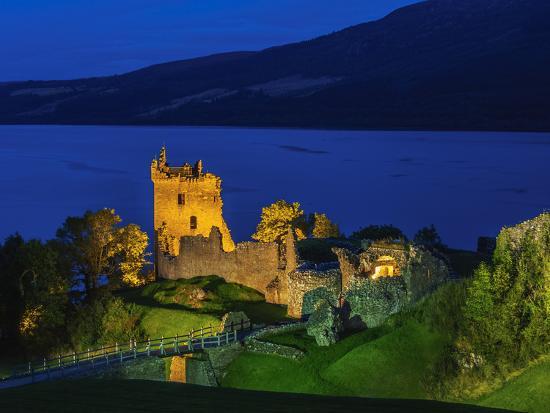 Twilight view of Urquhart Castle and Loch Ness, Highlands, Scotland, United Kingdom, Europe-Karol Kozlowski-Photographic Print