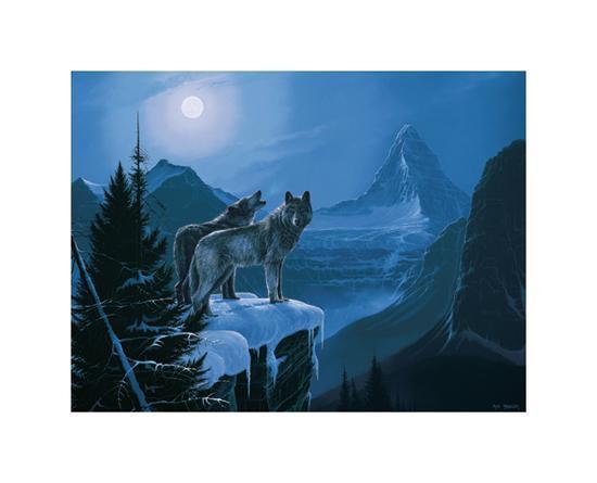 Twilight Wolves-Rod Tribiger-Art Print