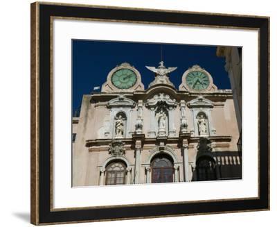 Twin Clock Tower, Palazzo Senatorio, Trapani, Sicily, Italy-Walter Bibikow-Framed Photographic Print