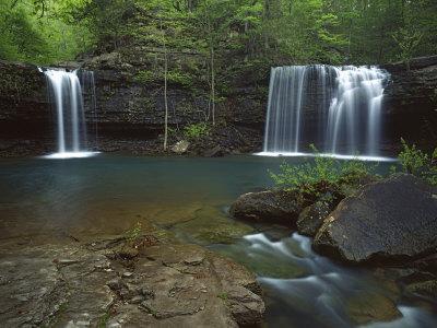 Twin Falls on Devil's Fork Richland Creek Wilderness, Ozark- St Francis National Forest, Arkansas, -Charles Gurche-Photographic Print