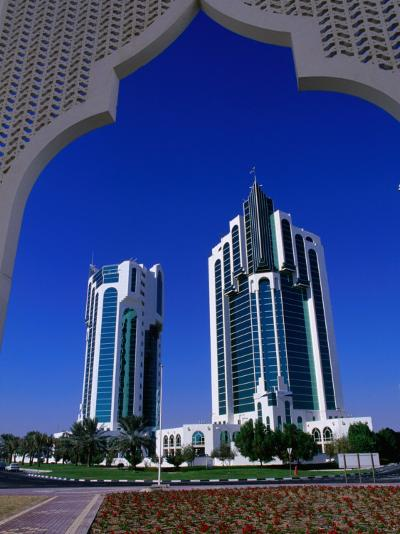 Twin Towers at Eastern End of the Corniche, Doha, Ad Dawhah, Qatar-Mark Daffey-Photographic Print