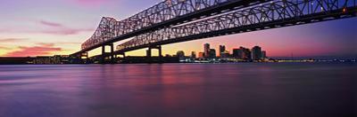 Twins Bridge over a River, Crescent City Connection Bridge, River Mississippi, New Orleans