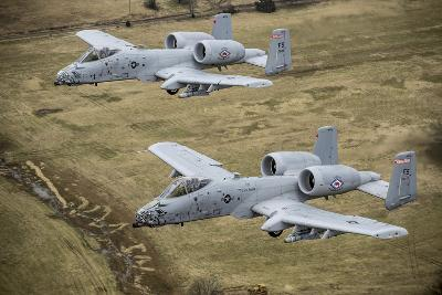 Two A-10 Thunderbolt Ii's Conduct a Training Mission over Arkansas--Photographic Print