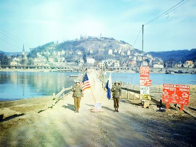 Two American Soldiers Guarding the Rozisch Blackburn Thompkins Bridge across the Rhine Near Remagen--Photographic Print