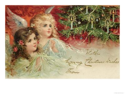 Two Angels Admire the Decorated Tree--Giclee Print